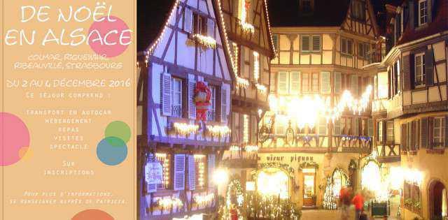 Marché de Noël en Alsace Pour passer un bon weekend en toute tranquilité, il est important de bien anticiper son séjour. C'est pour cette raison que le Centre Social et […]